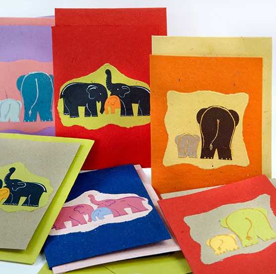 Elephant Dung Cards Pack of 5 Mulicoloured