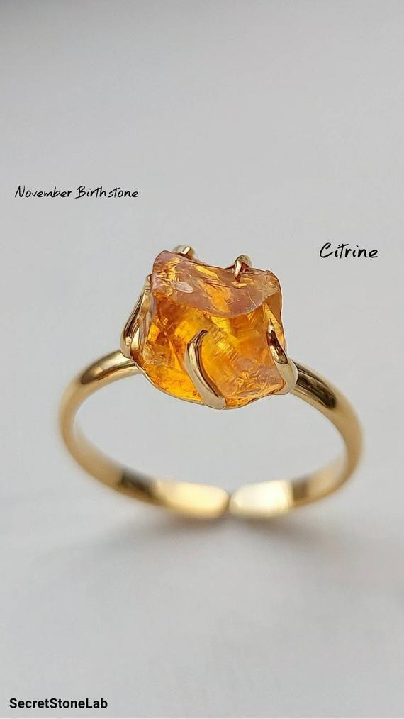 Citrine Jewelry Yellow stone Jewelry Gemstones Meditation Copper Ring Citrine Crystal Ring Citrine Chakra Ring