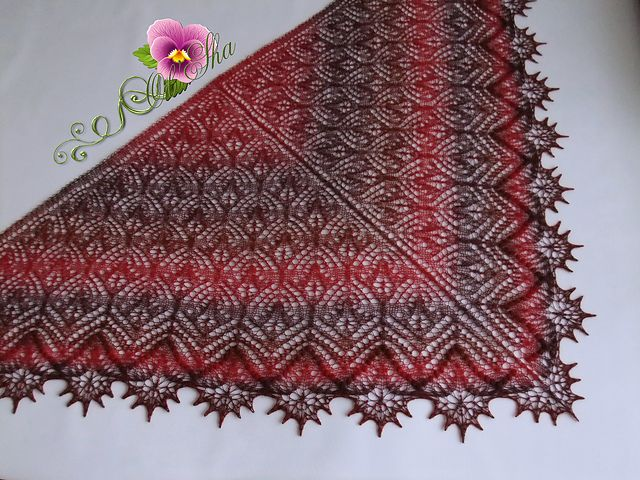 Triangular shawl worked top down from the nape to the edging. Charts show only half of the shawl. Charts before and after the center stitch are read from the right to the left. Charts show only RS (odd numbered) rows. In all even numbered (WS) rows, purl all sts.