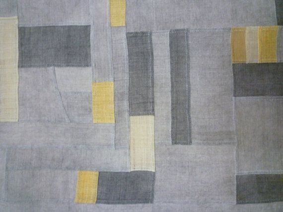 Charcoal grey Bojagi Korea traditional patchwork cloth by Banul, $160.00