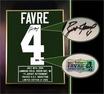 Brett Favre Jersey Retirement & Packers Hall of Fame Induction Commemorative Piece with Autograph!