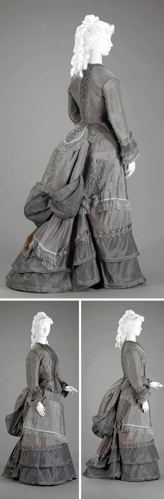 Walking suit ca. 1870s. Two-piece visiting dress in 2 shades of gray silk faille. Skirt has short train and is worn with bustle. Triangular pocket on right side of skirt, trimmed with buttons & cord lacing, was designed to hold parasol. Indianapolis Museum of Art: