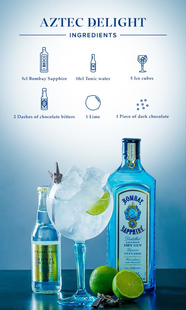 Aztec Delight: 1. Fill glass with ice cubes, add 5cl Bombay Sapphire and top off with tonic water, chocolate bitters and a dash of lime juice. 2.Garnish with a lime wedge and a piece of dark chocolate.