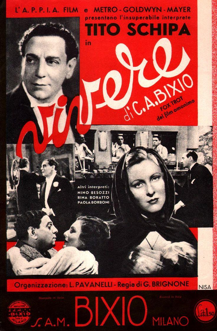 "Cover of sheet music for Cesare Andrea Bixio's ""Vivere"" [To Live], first sung by tenor Tito Schipa in Guido Brignone's drama ""Vivere!"" (English title: ""To Live"", 1936)."