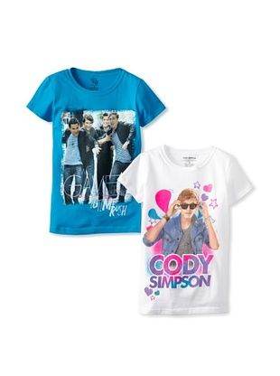 90% OFF Freeze Girl's Cody Simpson & Big Time Rush 2 Pack Tee Set (White/Turquoise)