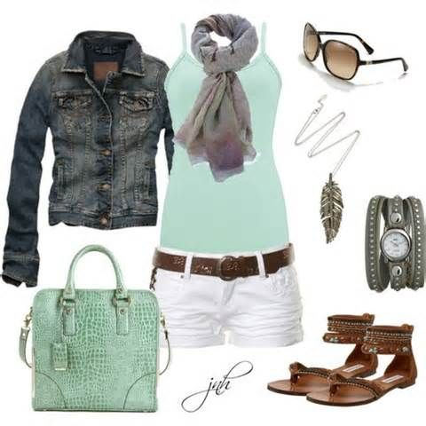 Mint green top and white shorts
