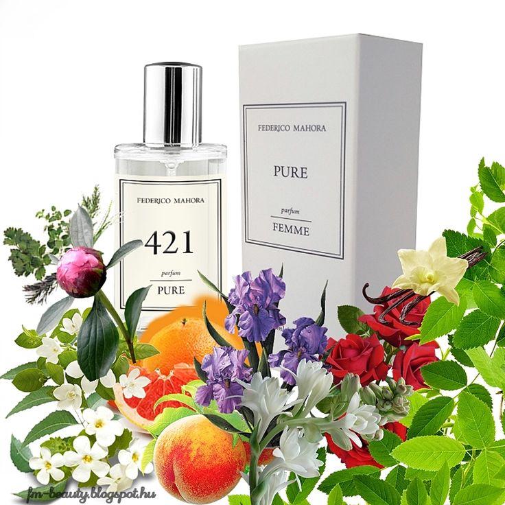 FM421 PURE női parfüm - Gres-Cabotine- szerű illat.  Nőies, csábító illat virágos jegyekkel.  Illatcsalád: ciprusos-virágos. Fejjegyek: grapefruit, őszibarack, zöld levelek. Szívjegyek: rózsa, narancsvirág,tubarózsa, pünkösdi rózsa, írisz. Alapjegyek: pacsuli, ámbra, vanília, pézsma.