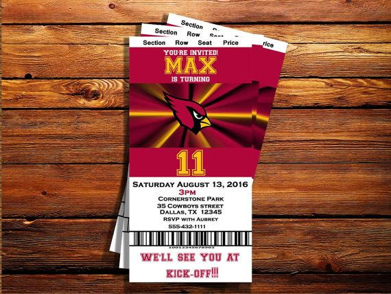 Arizona Cardinals Ticket Birthday by MarjinCreations on Etsy