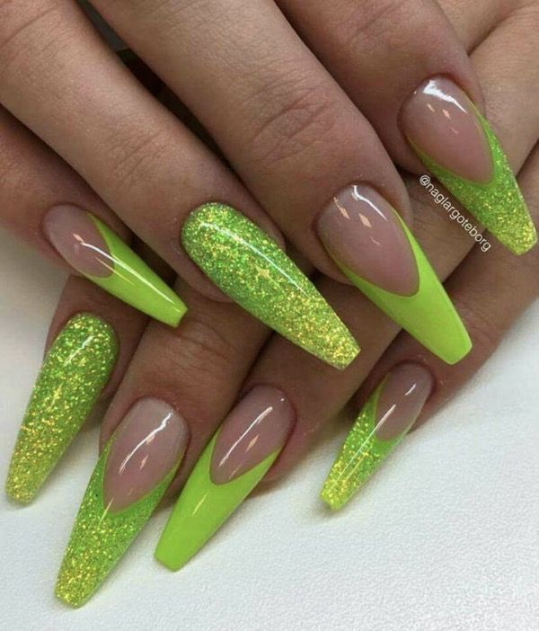 50 Attractive Acrylic Green Blue Glitter Coffin Nails For Winter Green Nail Designs Neon Nail Designs Neon Nails