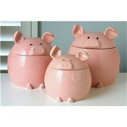 This Lil' Piggy Canister Set BY Del Rey #Canisters #Pig #Del_Rey