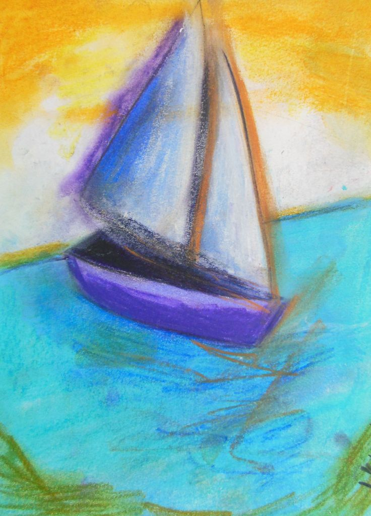 Purple Boat at sea - ORIGINAL Pastel drawing ILLUSTRATION Painting, 21 x 28 cm by PapeMoe on Etsy