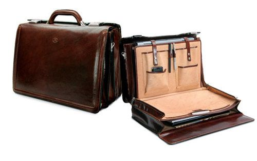 This unique Italian Leather Briefcase opens to 90 degrees, giving ...