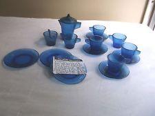 Vintage L. E. Alley Child's Cobalt Blue 1940's Glass Dish Tea Set 15 pcs.