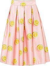 женская юбка-миди, с поясом, расклешенная, заложена складками, светло-розовая с рисунком