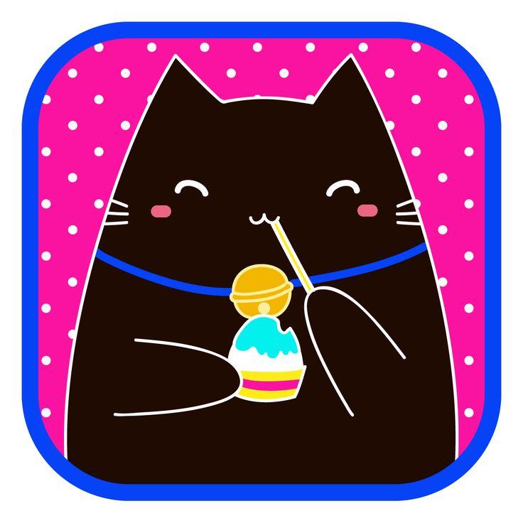 #LlaveNegra #KuroNeko #cat #icecream #IlustraciónDigital #Illustrator #Photoshop.