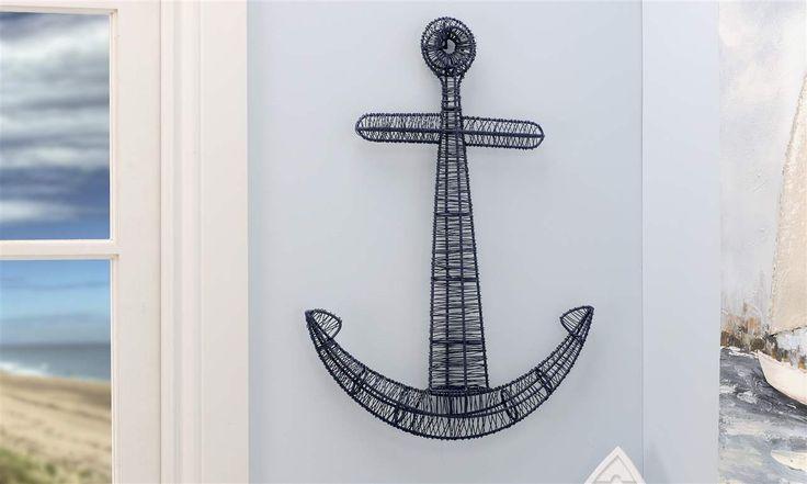 Metal Wire Anchor Design Wall Decor  19 x 2.5 x 24