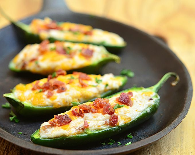Cheese-Stuffed Jalapeno Poppers: Ingredients 24 jalapenos 1 (8 ounces) package cream cheese, softened 1 cup cheddar cheese, shredded 8 slices bacon, cooked crisp and crumbled Instructions In a bowl, combine cream cheese, cheddar cheese and 2/3 of the bacon until blended....