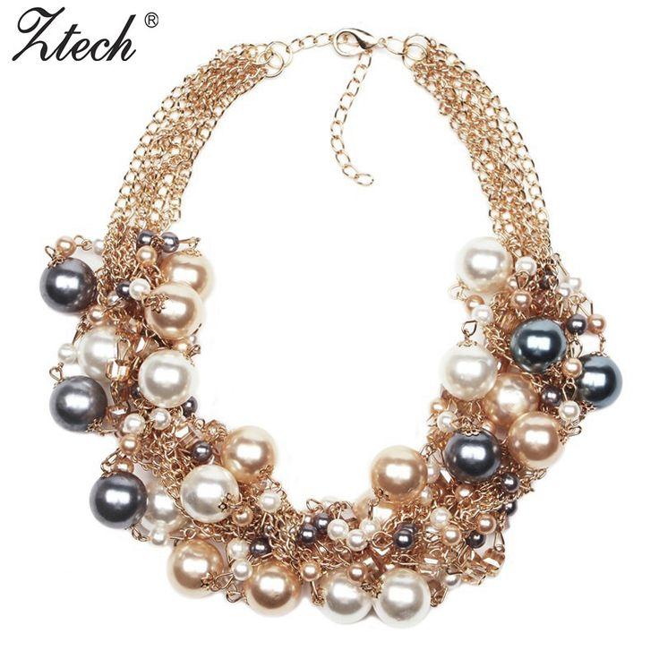 2016 New Fashion Multi Gold Chains Cross simulated pearl Rhinestones Choker Statement Necklaces Bijouterie Women Dress Whoselase
