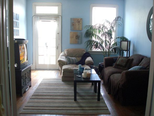 Blue brown and tan living room layout of room would work perfect