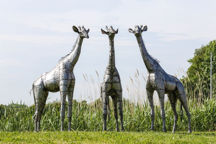 2ft baby giraffe group of sculptures from Pangea #art #metalsculpture #africanart