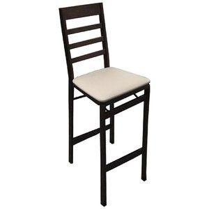 Two Walnut Wood Folding Barstools w/ Tan Seat Cover
