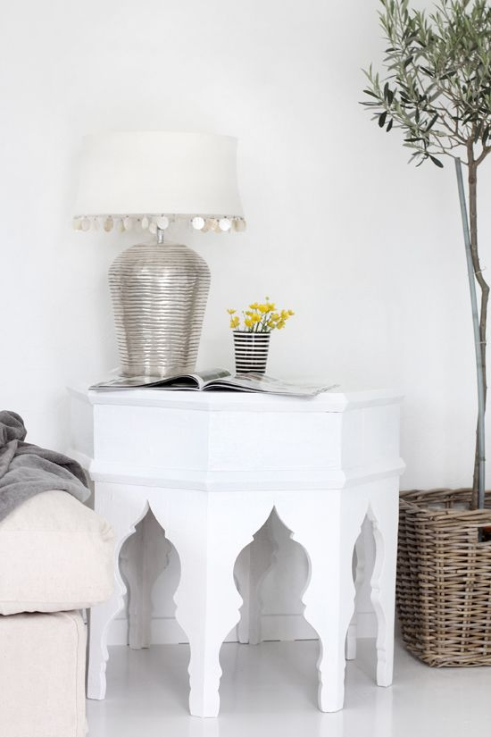 Moroccan table and lamp. Moroccan + Scandanavian, Nordic, Swedish style mix. Nice white modern bohemian room.