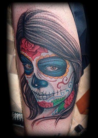 """Sugar Skull portait - Living Dead Girl - by Jon """"Dredd"""" Kellogg  Follow the artist.... Instagram @jondredd Facebook /JonDreddTattoo"""