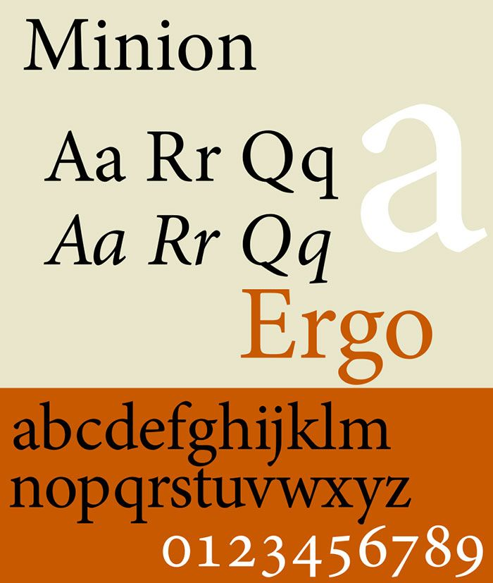 Another serif style typeface released in the 1990s, the Minion font was developed by Robert Slimbach and is ideal for on screen usages. It captures the elegance and simplicity of fonts from the Renaissance era.      jpg (700×827)    Typography
