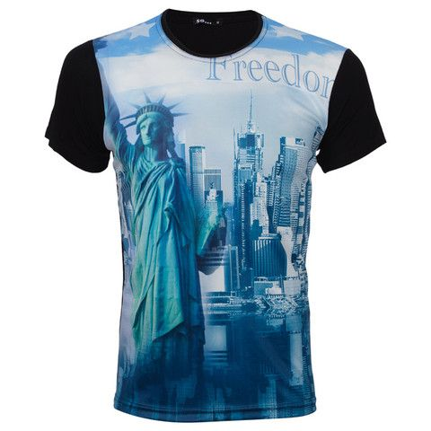 "Ανδρικό T-shirt μαύρο ""Freedom NY"" - So  http://brands4all.com.gr/collections/mens-t-shirt"