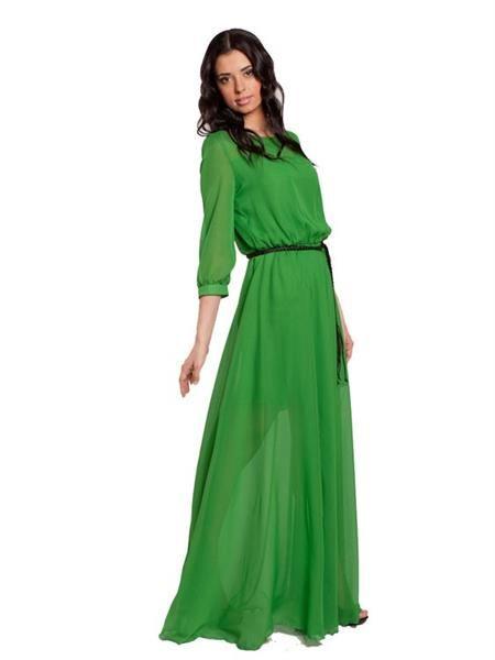 Зелёное шифоновое платье с длинным рукавом