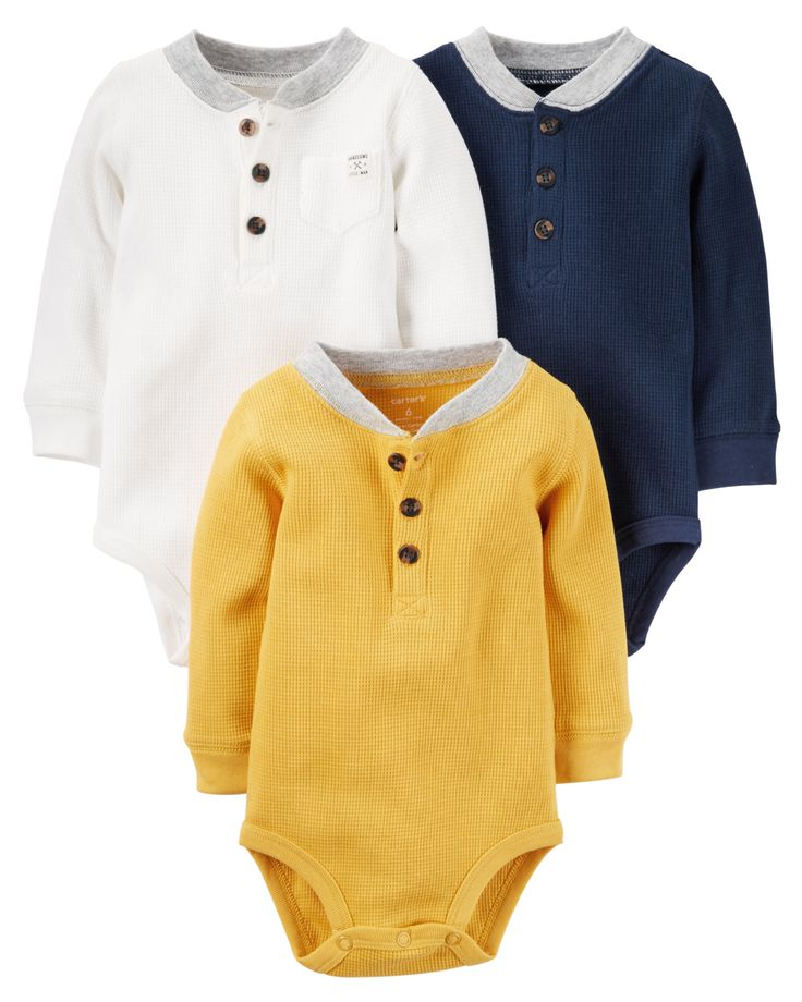 Crafted in cozy thermal, these quick change bodysuits are the perfect starters to any little outfit.