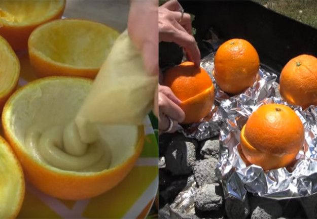 Bake some muffins in orange peels on the campfire.