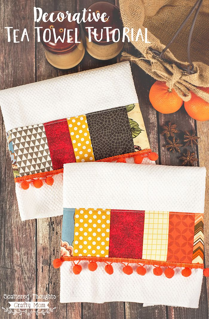 These DIY Decorative Tea Towels are a fabulous way to use up all fabric scraps and add a little fall color to your decor!  (Big shout out to Sparkle Paper Towels for working with me and sponsoring this post for you today!) Don't you just love a pop of color in your kitchen?  Tea towels …