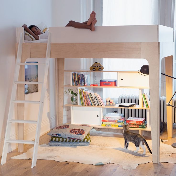 The Perch twin-sized loft bed is an elegant space-saver. Used alone as a loft bed, it allows for ample storage and play space underneath. It can also be combined with the Perch lower twin bed (sold separately), to create a bunk bed unit.   This item is GREENGUARD Gold certified.