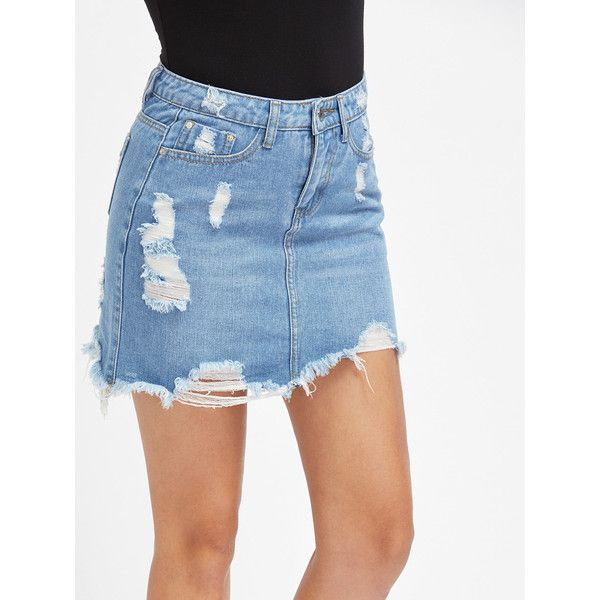 SheIn(sheinside) Light Wash 5 Pocket Distressed Denim Skirt ($16) ❤ liked on Polyvore featuring skirts, mini skirts, blue, bodycon skirt, bodycon mini skirt, blue skirt, bohemian style skirts and body con skirt