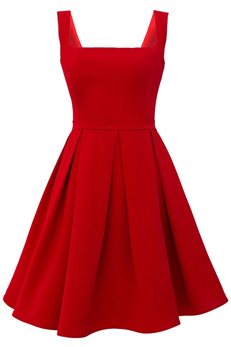 Melih Yazgan Kare Yaka Pileli Elbise Kırmızı | 365ist