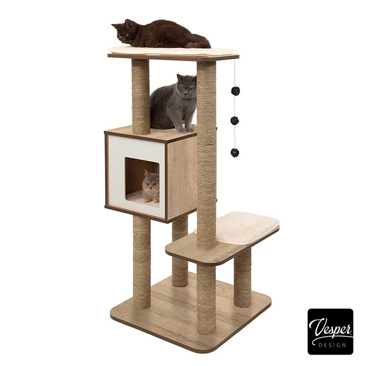 Vesper High Base Oak Catit Modern Cat Furniture Vesper Cat Furniture Cat Furniture
