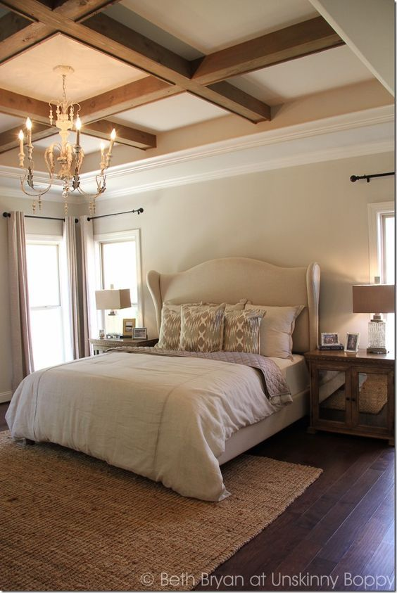 Delightful Wooden Cross Beams In Coffered Bedroom Ceiling.