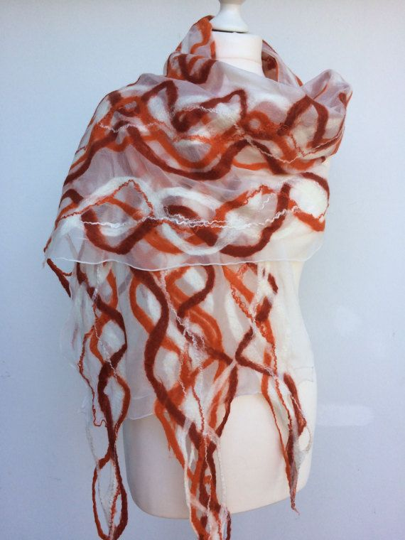 Nuno felt felt scarf Orange ornament / silk / by FilzoaseSusanneN