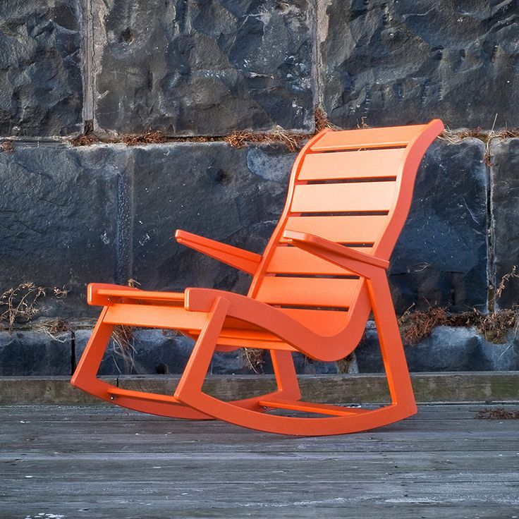 Made in the U.S.A. by Loll Designs, this modern outdoor rocking chair honors mid-century architect Ralph Rapson. Available in 10 colors.