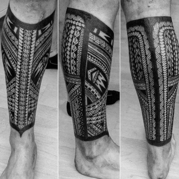 Blackwok With Pattern Polynesian Tribal Leg Tattoos For Guys