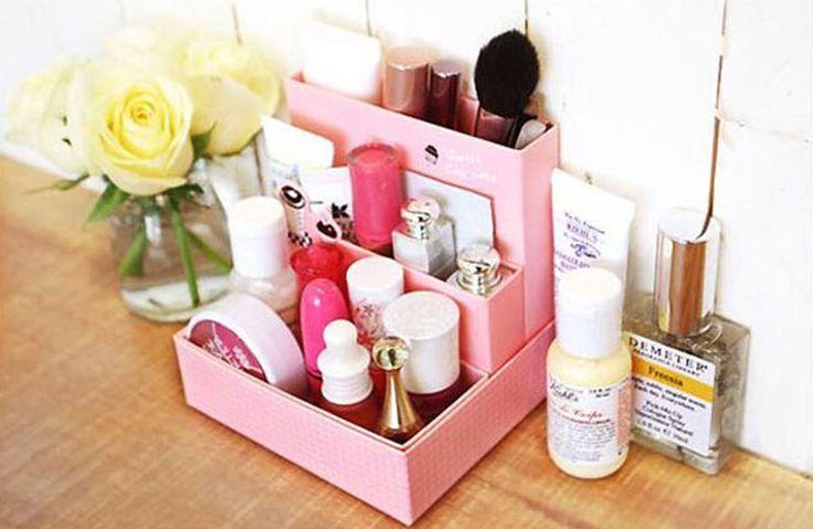 Hágalo usted mismo Paper board Caja de almacenamiento Escritorio Decoración Papelería Maquillaje Cosméticos Organizador Nuevo