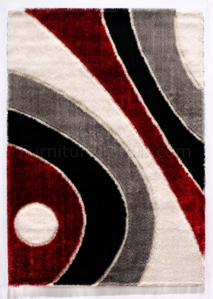 Modern  Red Area Rug