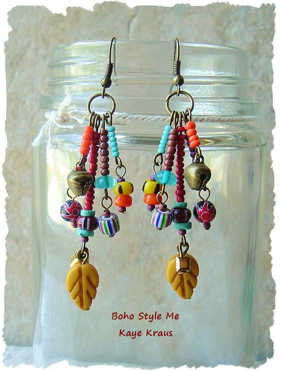 Tribal Earrings Colorful Bohemian Earrings Tribal by BohoStyleMe