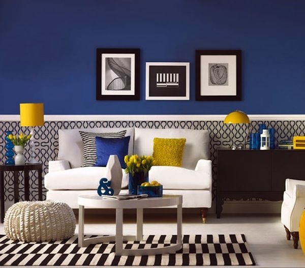 Blue and yellow pops against a black and white graphic background to create fresh and contemporary look.