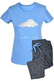 MUZZY nightwear, piżama, koszulka + rybaczki, niebieska, chmurka, więcej na www.muzzy.pl/sklep