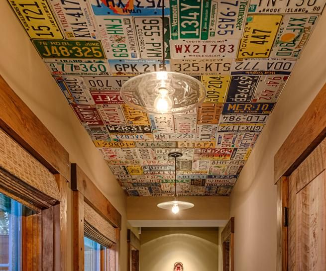 License plates as ceiling (perfect reuse, recycle idea) found at http://www.tonyhardyconstruction.com/portfolio-view/beck-residence/#prettyphoto[pp_gal]/1/