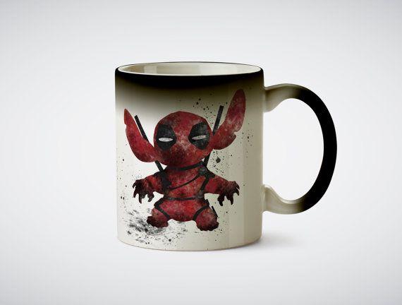 Deadpool Stitch Mug. Cool mugs, cute mugs, funny mugs, heat mugs, unique mugs, ceramic mugs, coffee mugs, tea mugs, wine, disney, villains. #mugs #coffee #gifts #shopping #commissionlink