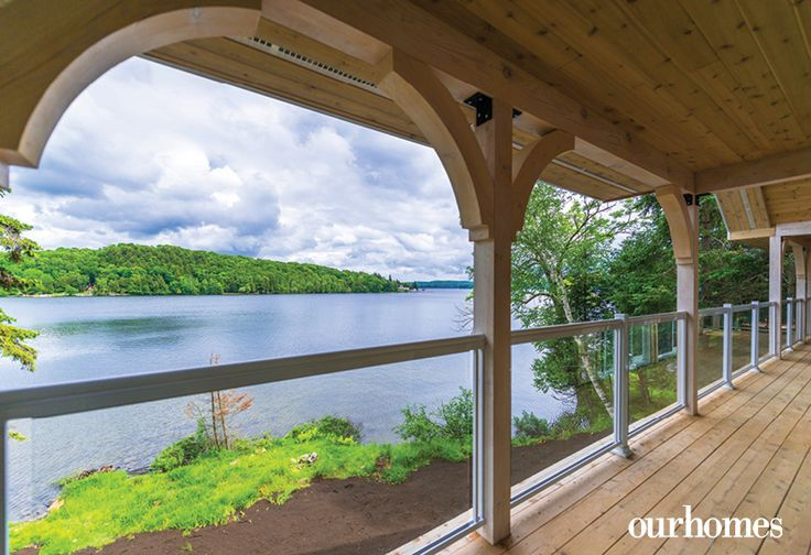 Tempered glass railings enhance the view of Peninsula Lake from the front deck. http://www.ourhomes.ca/articles/build/article/lake-peninsula-prize