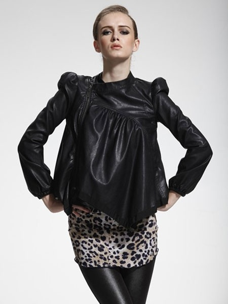 Lace Shoulder Pad Short PU Leather Jacket. Size S. choise.com